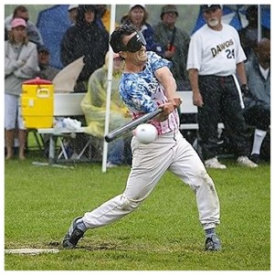 A batter swings at a ball during the Beep Ball World Series where blind athletes from over the world compete.